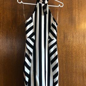 Black and white halter dress